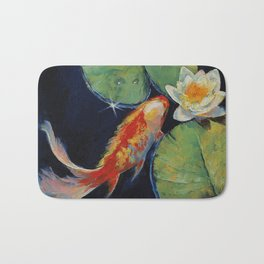 Koi and White Lily Bath Mat