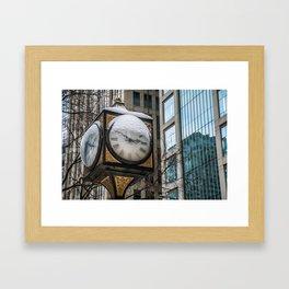 Snowy Clock Framed Art Print