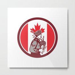 Canadian Bagpiper Canada Flag Icon Metal Print