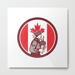 Canadian Bagpiper Canada Flag Icon Metal Print