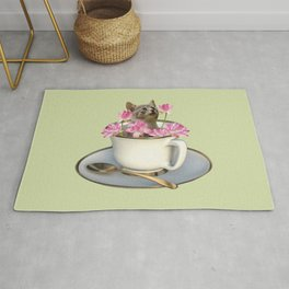 Grey Kitty Cat in Cup with Lotus Flower Rug