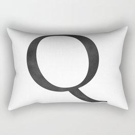 Letter Q Initial Monogram Black and White Rectangular Pillow