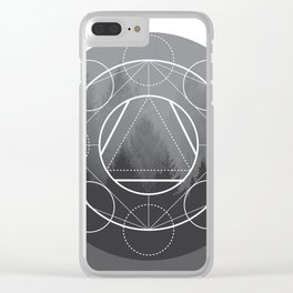 Grayscale Pine Tree Sacred Geometry Clear iPhone Case