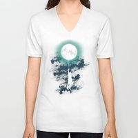 lady V-neck T-shirts featuring Burn the midnight oil  by Picomodi