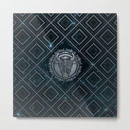 Taurus Zodiac Silver Embossed on the Star sky Metal Print