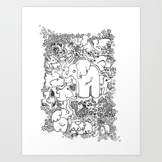 Little Elephants Art Print