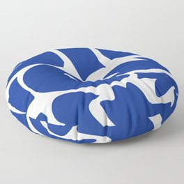 Blue shapes on white background Floor Pillow
