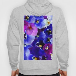 Abstract blue purple pink white pansies floral Hoody