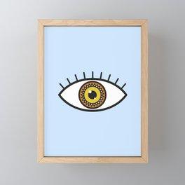 Evil Eye on blue Framed Mini Art Print