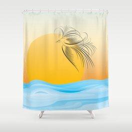 Flying bird - calligraphy Shower Curtain