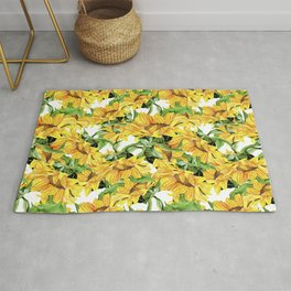 Sunflower field. Watercolor seamless pattern  white. Rug