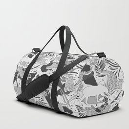 Monochrome Jungle Life / Grayscale Wilderness Duffle Bag