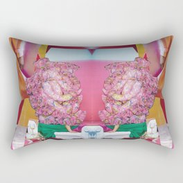 she lived on the throne - pink green and gold modern collage Rectangular Pillow