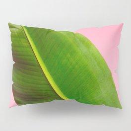 Banana Palm Leaves Pink Background Pillow Sham