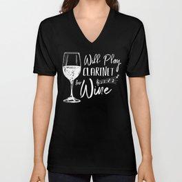 Funny Wine & Clarinet Unisex V-Neck
