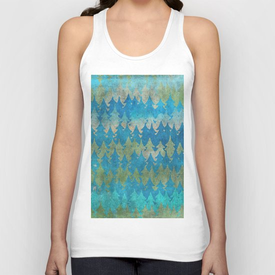 The secret forest - Abstract aqua turquoise Forest tree pattern Unisex Tank Top