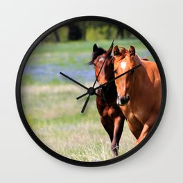 Horses & Bluebonnets II Wall Clock