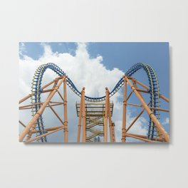Rollercoaster Against The Sky Metal Print