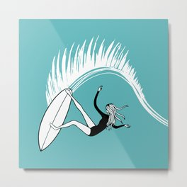 Surfer Girl Slice Metal Print
