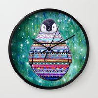 penguin Wall Clocks featuring penguin by beart24