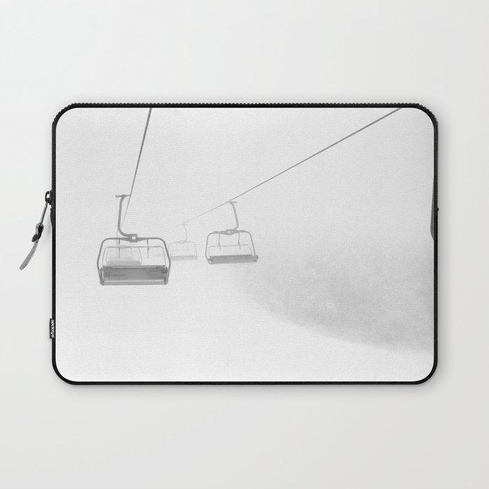 4 Seat Chair Lift Deep Snow B&W Laptop Sleeve