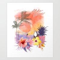 aloha Art Prints featuring aloha by ulas okuyucu