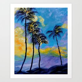 Moon over Palm Trees Art Print