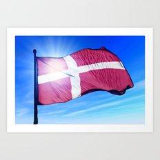 Denmark flag waving on the wind Art Print