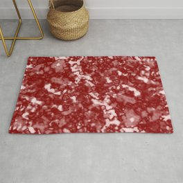 A fluttering cluster of red bodies on a light background. Rug