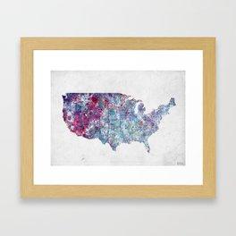 USA map Framed Art Print
