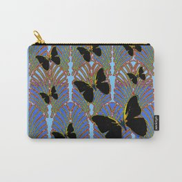BLUE COLOR BLACK BUTTERFLY ART DECO PATTERNS Carry-All Pouch