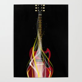 Burning Solid Electric Guitar Poster