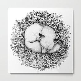 Fox Sleeping in Flowers Metal Print