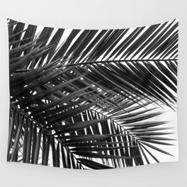 Tropical Palm Leaves - Black and White Nature Photography Wall Tapestry