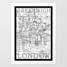 Greenwich London (B&W) Art Print