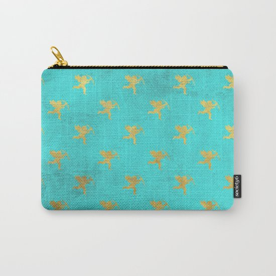 Gold Angels on aqua backround- pattern Carry-All Pouch