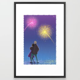Firework Couple Framed Art Print