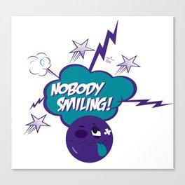 Nobody Smiling Emoji - Volt Canvas Print