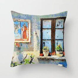 Catanzaro: saintly edicule and window Throw Pillow