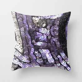 Lavender Silver Black Sequin Throw Pillow