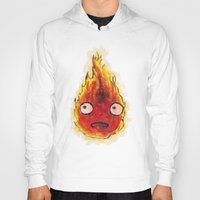 calcifer Hoodies featuring Burning Calcifer by KeithKarloff