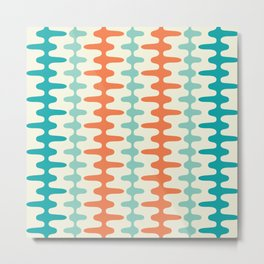 Retro Mid Century Modern Trellis Print Orange and Teal Metal Print