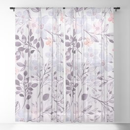 Hand painted modern pink lavender watercolor floral Sheer Curtain