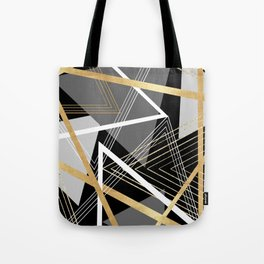 Original Gray and Gold Abstract Geometric Tote Bag