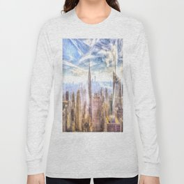 New York Manhattan Skyline Art Long Sleeve T-shirt