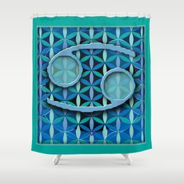 CANCER Flower of Life Astrology Design Shower Curtain