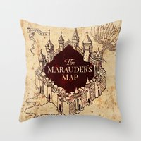 marauders Throw Pillows featuring MARAUDERS MAP by Graphic Craft