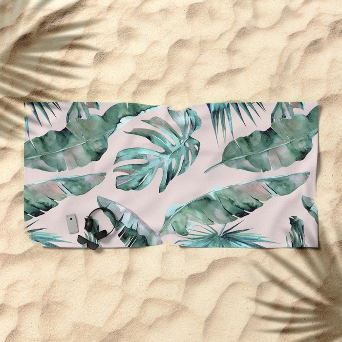 Tropical Palm Leaves Turquoise Green Coral Pink Beach Towel