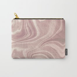 Dusty Rose Pink Swirl Marble Carry-All Pouch