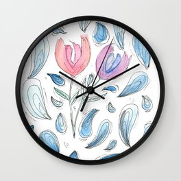 Tulip drops Wall Clock